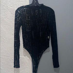 Black Bead Greek Print Sheer Body Suit